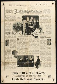 4z001 NEWS OF FIRST NATIONAL PICTURES ADVT. 2-sided 1sh '20s cool newspaper design!
