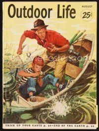 5b163 OUTDOOR LIFE magazine August 1953 art of father & son fishing in boat by Charles Dye