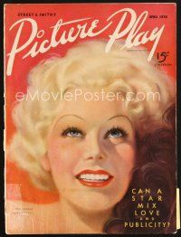 5b118 PICTURE PLAY magazine April 1936 wonderful artwork of sexy Jean Harlow by Tatiana Fall!