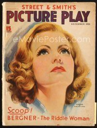 5b114 PICTURE PLAY magazine December 1935 artwork of beautiful Greta Garbo by Marland Stone!