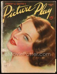 5b116 PICTURE PLAY magazine February 1936 artwork of beautiful Rochelle Hudson by Tatiana Fall!