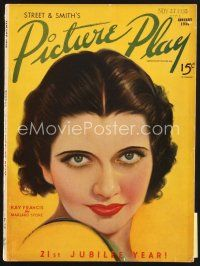 5b115 PICTURE PLAY magazine January 1936 artwork of beautiful Kay Francis by Marland Stone!