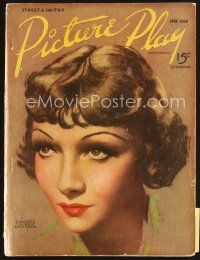 5b119 PICTURE PLAY magazine June 1936 artwork of pretty Claudette Colbert by Bill Foster!