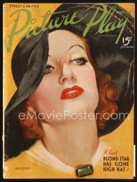 5b117 PICTURE PLAY magazine March 1936 great artwork of Joan Crawford by Marland Stone!