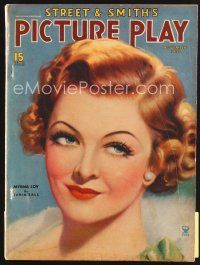 5b113 PICTURE PLAY magazine November 1935 great artwork of pretty Myrna Loy by Tania Sall!