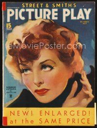 5b112 PICTURE PLAY magazine October 1935 great artwork of Katharine Hepburn by Meredith Law!