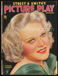 5b111 PICTURE PLAY magazine September 1935 great artwork of Alice Faye by Millard Hopper!