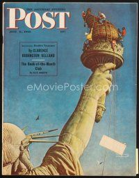 5b160 SATURDAY EVENING POST magazine July 6, 1946 Norman Rockwell art of men cleaning Lady Liberty