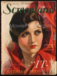 5b101 SCREENLAND magazine July 1928 cool art of beautiful Evelyn Brent by Georgia Warren!