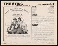 5b415 STING pressbook '74 best artwork of con men Paul Newman & Robert Redford by Richard Amsel!