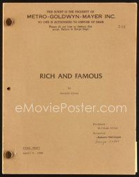 5b315 RICH & FAMOUS revised final draft script April 9, 1980, screenplay by Gerald Ayres!