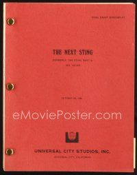 5b318 STING 2 final draft script October 30, 1981, screenplay by David S. Ward, great working title!