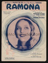 5b265 RAMONA sheet music '28 Ramona, dedicated to Dolores Del Rio in the title role!