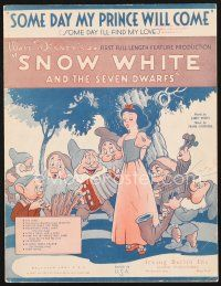 5b270 SNOW WHITE & THE SEVEN DWARFS sheet music '37 Disney classic, Some Day My Prince Will Come!