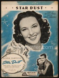 5b271 STAR DUST sheet music '40 c/u pretty 17 year-old actress Linda Darnell, the title song!