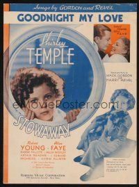 5b272 STOWAWAY sheet music '36 Shirley Temple with cute dog, Goodnight My Love!