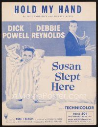 5b275 SUSAN SLEPT HERE sheet music '54 sexy Debbie Reynolds & Dick Powell, Hold My Hand!