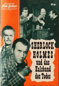 5b236 SHERLOCK HOLMES & THE DEADLY NECKLACE German program '62 Christopher Lee, different images!