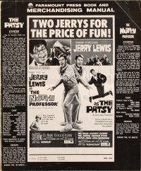 5b406 PATSY/NUTTY PROFESSOR pressbook '64 Jerry Lewis double-bill, 2 Jerrys for the price of fun!