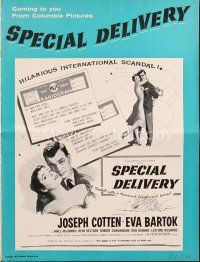 5b414 SPECIAL DELIVERY pressbook '55 Cotten & Eva Bartok in a hilarious international scandal!