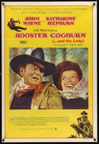 5j092 ROOSTER COGBURN Aust 1sh '75 great art of John Wayne with eye patch & Katharine Hepburn!