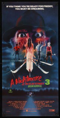 5j109 NIGHTMARE ON ELM STREET 3 Aust daybill '87 cool horror art of Freddy Krueger by Matthew Peak!