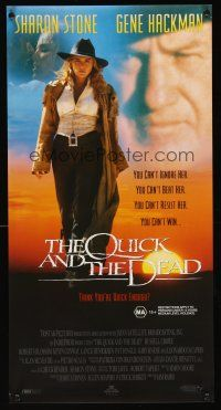 5j112 QUICK & THE DEAD Aust daybill '95 Sharon Stone & super close up of Gene Hackman!