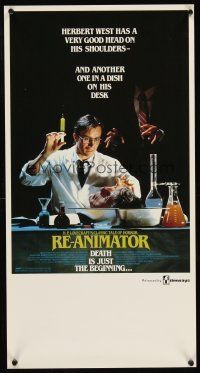 5j113 RE-ANIMATOR Aust daybill '86 great image of mad scientist with severed head in bowl!