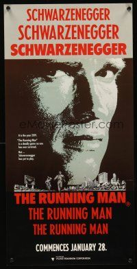 5j114 RUNNING MAN teaser Aust daybill '87 huge close up headshot of Arnold Schwarzenegger!