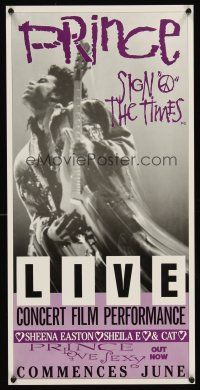 5j116 SIGN 'O' THE TIMES advance Aust daybill '87 rock & roll, great image of Prince with guitar!