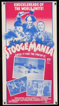 5j117 STOOGEMANIA Aust daybill '86 art of Moe, Larry & Curly, knuckleheads of the world unite!