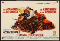 5j353 CANNON FOR CORDOBA Belgian '70 art of George Peppard with huge gun!