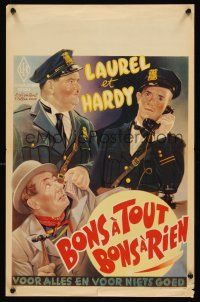 5j420 MIDNIGHT PATROL Belgian R50s great artwork of Stan Laurel & Oliver Hardy in police uniforms!