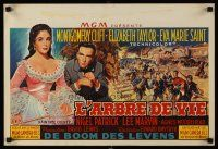 5j437 RAINTREE COUNTY Belgian '57 art of Montgomery Clift, Elizabeth Taylor & Civil War battle!