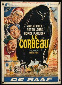 5j438 RAVEN Belgian '68 art of Boris Karloff, Vincent Price, Peter Lorre & giant bird!