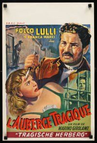 5j442 RISCATTO Belgian '53 Folco Lulli, Franca Marzi, art of man w/knife & woman in peril!