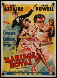 5j443 ROYAL WEDDING Belgian '51 great artwork of dancing Fred Astaire & sexy Jane Powell!