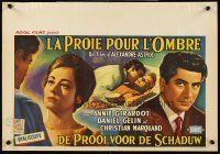 5j448 SHADOWS OF ADULTERY Belgian '61 La proie pour l'ombre, cool art of Annie Girardot!