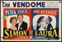 5j449 SIMON & LAURA Belgian '56 Peter Finch & Kay Kendall, a rollicking tale of a perfect couple!