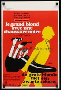 5j461 TALL BLOND MAN WITH ONE BLACK SHOE Belgian '72 great wacky artwork by Herve Morvan!