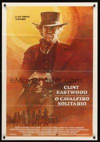 5j014 PALE RIDER Brazilian '85 great artwork of cowboy Clint Eastwood firing gun!