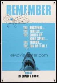 5j004 JAWS teaser Canadian 1sh R79 Steven Spielberg's classic shark Bruce is coming back!