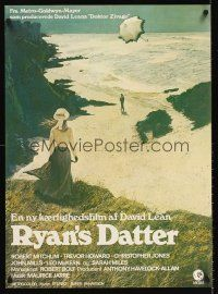 5j596 RYAN'S DAUGHTER Danish '70 David Lean, art of Sarah Miles on beach + umbrella!