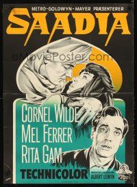 5j597 SAADIA Danish '54 Gaston art of Arab Cornel Wilde, Mel Ferrer & Rita Gam in Morocco!
