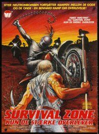 5j606 SURVIVAL ZONE Danish '83 Gary Lockwood & Camilla Sparv in Mad Max rip-off, wild action art!