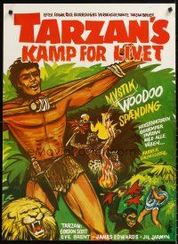 5j610 TARZAN'S FIGHT FOR LIFE Danish '58 close up art of Gordon Scott bound with arms outstretched!