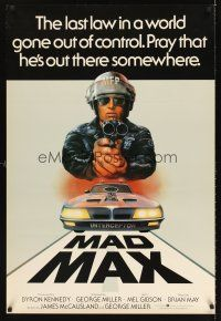 5j059 MAD MAX English 1sh '79 art of wasteland cop Mel Gibson, Miller's Australian sci-fi classic!