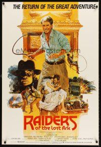 5j061 RAIDERS OF THE LOST ARK English 1sh R82 great art of adventurer Harrison Ford by Bysouth!
