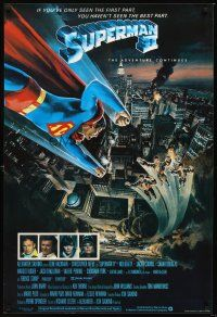 5j064 SUPERMAN II English 1sh '81 Christopher Reeve, Terence Stamp, great Gouzee art over NYC!