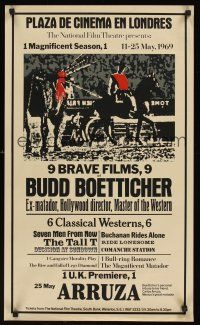 5j065 9 BRAVE FILMS OF BUDD BOETTICHER English double crown '69 cool bullfight style design!